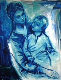 Mother and Child (blue period) painting