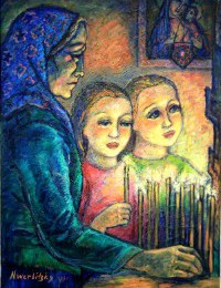 Grandmother with Nadia and Lucy painting